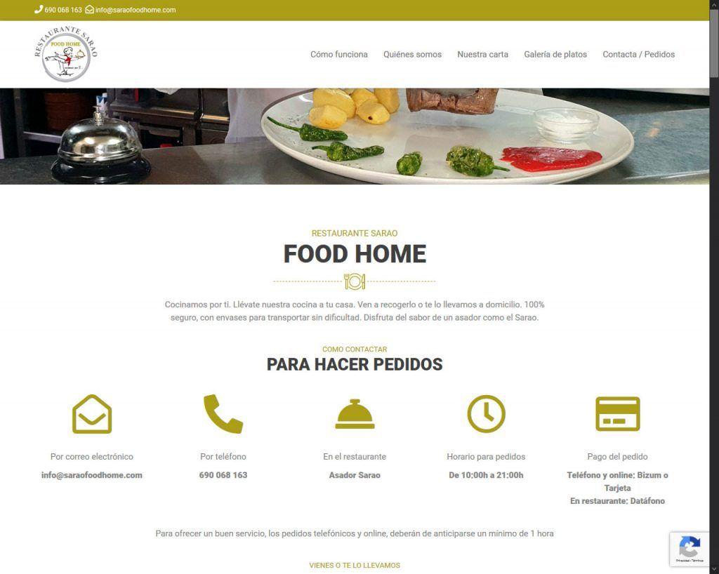 Landing page, modelo one page, para Sarao Food Home